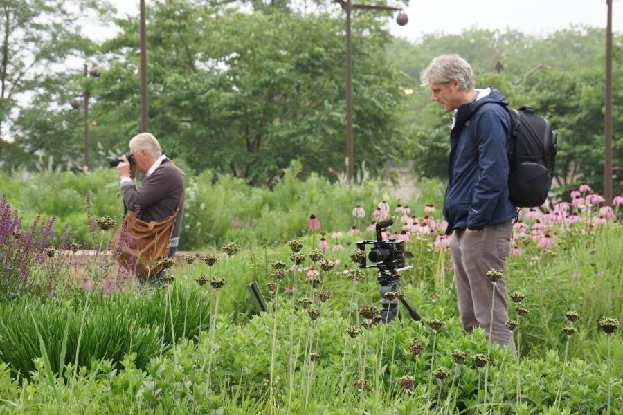 Director Thomas Piper and Piet Oudolf on location in the Lurie Garden, Chicago (photo by Adam Woodruff)