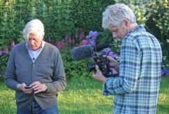 Director Thomas Piper and Piet Oudolf on location in Hummelo, Netherlands (photo by Malcolm Wyer)